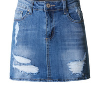 LE3NO Womens Casual Fitted Distressed Ripped Denim Skirt