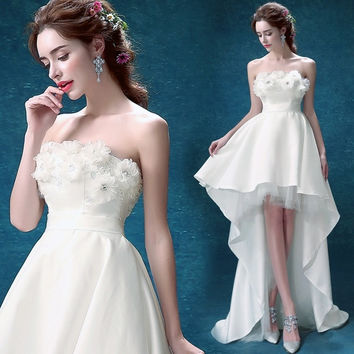 Princess Strapless high low princess bride wedding dress 2015 new