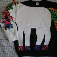 Unicorn sweatshirt, adult sizes small, medium, large and Xlarge. Mystical, magical, fantasy, rainbow trim