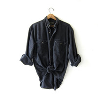 Vintage Black Denim Shirt. Long Sleeve Jean Shirt. Oversized Button Up Boyfriend Shirt.