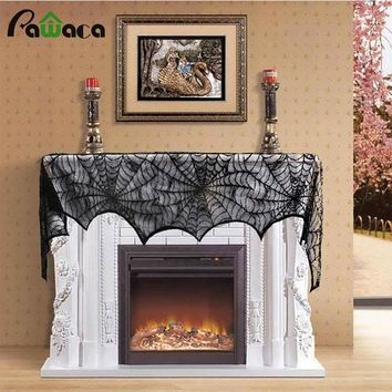 Black Spider Fireplace Mantel Scarf Halloween Decoration Props Lace Spiderweb Scarf Curtains Shades Holloween Supplies 45x244cm