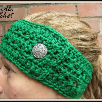 Green Crochet Headband Earwarmer Accessory Warm for Fall Winter with One Decorative Silver Button Christmas Gift Present Acrylic Yarn