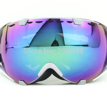 Gray & White Frame Adult Snow Ski Goggles