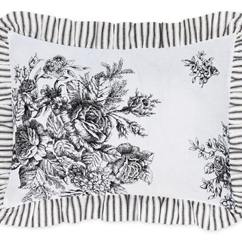 Garden Toile Boudoir Pillow - Black