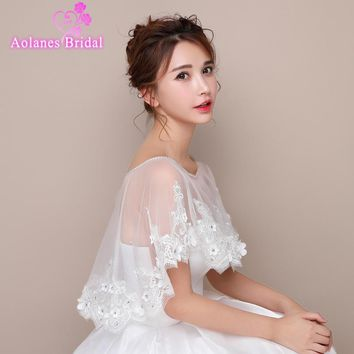 2017 New Summer Off White Ivory  Bridal Wedding Jacket Bolero Tulle with Lace Crystals Scoop Neck Wedding Shrug Cape Shawl