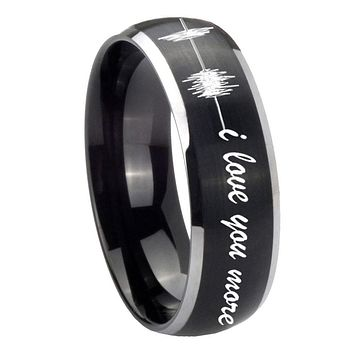 8MM Matte Brush Black Dome Sound Wave i love you more more 2 Tone Tungsten Laser Engraved Ring
