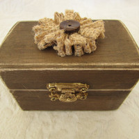 Boho Rustic Woodland Cottage CHic Wedding Ringbearer Box Burlap Flower