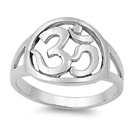 Sterling Silver Om Symbol Ring 13mm (Size 5 - 10)