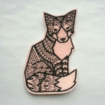 Iron On Patch Tribal Fox Applique in Pink