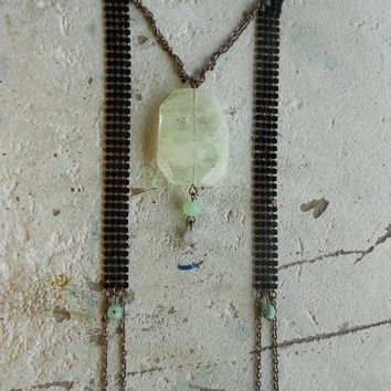 Necklace with Rutilated Quartz+Chrisocolla & Chalcedony+Oxidized Chains! ~Pagan Magic~ OOAK Elvish Necklace in Mints+Lilac+Oxidized tones!