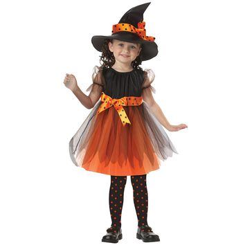 kid Girls flower party dress Halloween Carnival Witch Suit Costume Cosplay Fancy Dress with Hat Bow-knot Tutu Lace outfits dress
