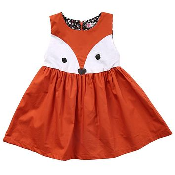 Casual Baby Girls Fox Dress