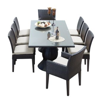 Napa Rectangular Outdoor Patio Dining Table With 6 Armless Chairs And 2 Chairs W/ Arms