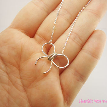 Bow Necklace 18 inches Sterling Silver by heartfeltwiredesigns