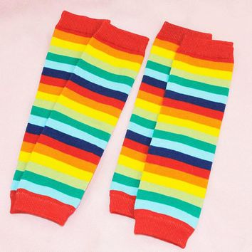 Rainbow Color Baby Leg Warmers Kids Socks Soft Boys & Girls Stocking Hosiery Toddlers Kneepad Protector Striped Leg Warmers