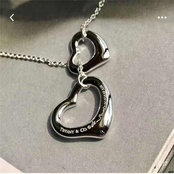 hcxx T011 Tiffany & Co. Double Heart Silver Lady Heart Shaped Necklace