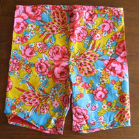 60s surf shorts - vintage Rob Roy pink blue yellow floral hawaiian print lined long swim shorts - xs small