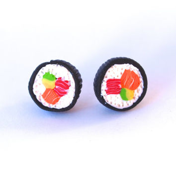 Miniature Food Sushi Earrings, Sushi Rolls Studs, Miniature Food Jewellery, Handmade Jewelry Earrings, Mini Food Jewelry, Sushi Lovers