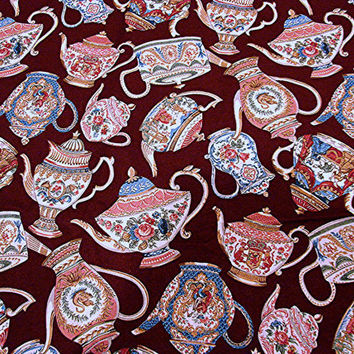 Teapot Fabric Cotton Burgandy with multi color teapots