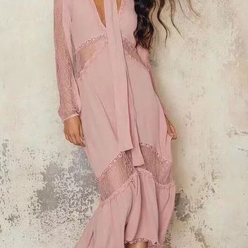 Pink Plunge Sheer Lace Panel Tie Neck Ruffle Hem Dress