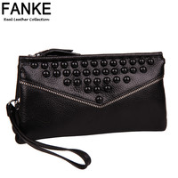 New 2016 Designer Clutch Famous Brand Women Clutch 100% First Layer Genuine Leather Female Coin Purse Single Zipper Clutch Bag