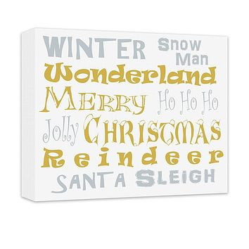 Merry Christmas Word Collage Canvas Wall Art