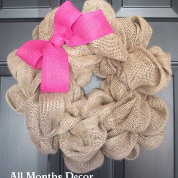 Natural Burlap Wreath with Burlap Bow, Rustic Country, Door Porch, Spring, Easter, St. Patrick's Day, Fall, Holiday Year Round
