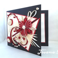 Unique handmade greeting card, Birthday card, Wedding card, Quilling card