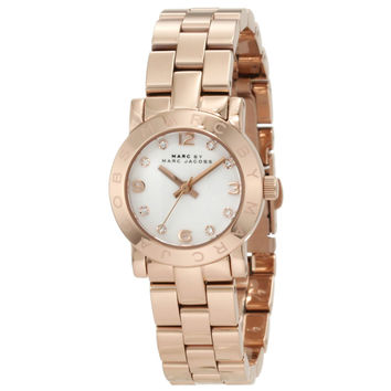 Marc by Marc Jacobs MBM3078 Women's Mini Amy White Crystal Accents Dial Rose Gold Tone Stainless Steel Bracelet Quartz Watch