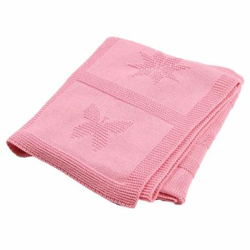 Pink Butterfly Heart Star Baby Blanket