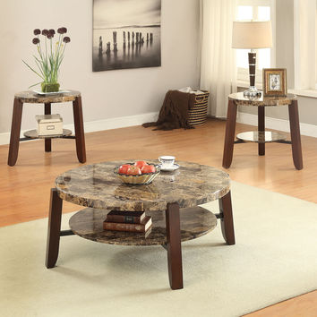 Acme Lilith End Table, Faux Marble & Cherry