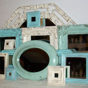 12 Shades of the Beach Distressed Wall Mirrors Robins Egg Blue, Sea Foam Green & Vintage White