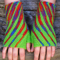 Bright-green knit wrist warmers. Fingerless wool gloves. Unique wristlets for women