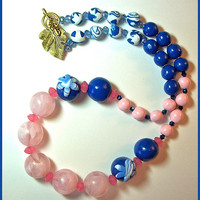 Bright & Bold Royal Blue and Pink Necklace 20 in. Handcrafted Polymer Clay and Glass Beads Statement Necklace Handmade