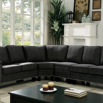Furniture of america CM6885 4 pc Elwick dark gray linen like fabric sectional sofa