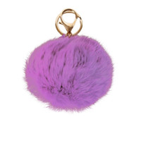 Pop Purple Pom Pom Keychain