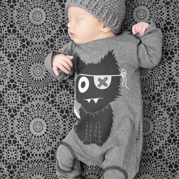 Creepy Cat Image Printed Baby Jumpsuits
