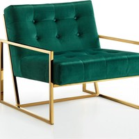 Pierre Gold Accent Chair Green Velvet