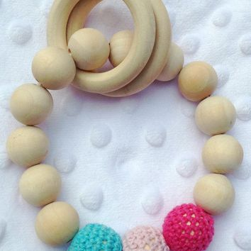 1Pc Teething Baby Natural Round Wood Bracelet Baby Newborn Mom Kids Wooden Teether Toy Newborn Baby Products