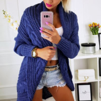 Autumn and winter ebay solid color casual loose sweater in the long sweater coat female