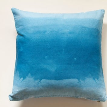 """Cerulean Blue Ombre Pillow Cover- 16""""x16"""" Blue Decorative Throw Pillow Cover, Ocean Theme Watercolor Look"""