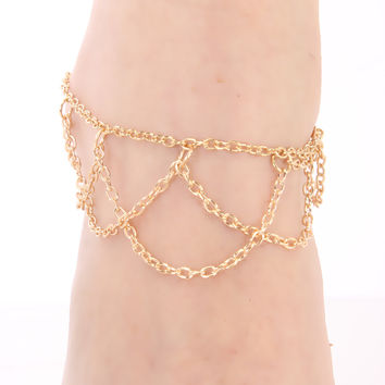 Gold Draped Cage Summer Cute Ankle Bracelet