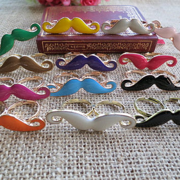Ring -1pcs of Enamel Mustache Ring with Two Fingers Ring Double Finger Ring -13 colors for your choice