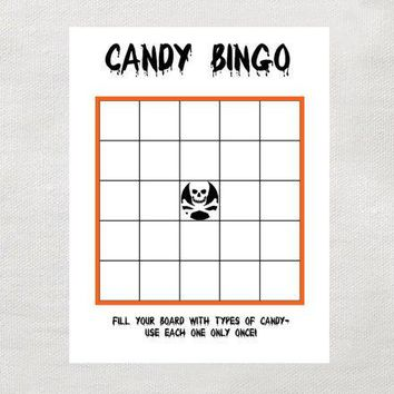 Instant Halloween Candy Bingo  Instant Download  Halloween Game