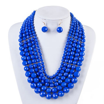 African Beads Jewelry Set Fashion Jewelry Sets Nigerian Beads Necklace Earrings Set Wedding Jewelry Jewellery Set Taki PJ0007