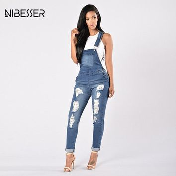 NIBESSER Ripped Hole Hollow Out Jumpsuits Women Casual Blue Long Jeans Jumpsuits Female Fashion 2017 Autumn Washed Denim Rompers