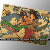 60x42cm Dragon Ball Vintage Style Poster - 1989 Anime Manga Poster Wall Print Home Decoration- Saiyan  Son Goku