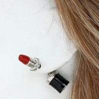 Lipstick Double Sided Earrings Silver