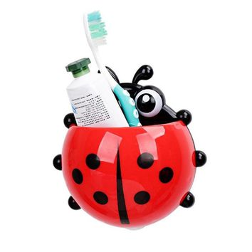 Cute Ladybug Toothbrush Toothpaste Holder Storage Shelves Holders Wall Suction Bathroom Organizer Accessories Supplies Products