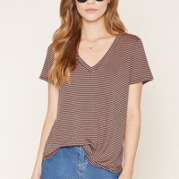 Striped V-Neck Tee | Forever 21 - 2000205273